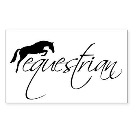 equestrian w/jumping horse Rectangle Sticker
