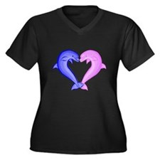 Colored Dolphin Heart Women's Plus Size V-Neck Dar