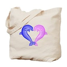 Colored Dolphin Heart Tote Bag
