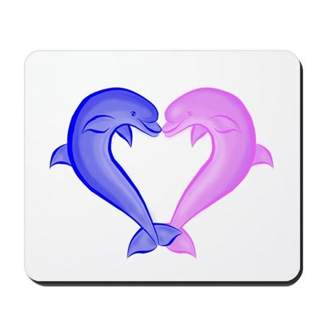 Colored Dolphin Heart Mousepad