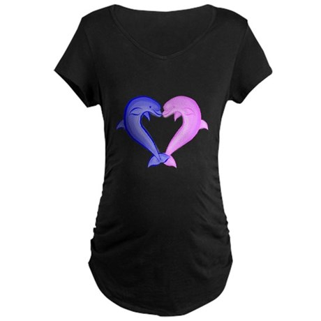 Colored Dolphin Heart Maternity Dark T-Shirt