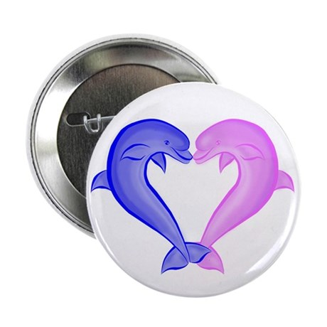 "Colored Dolphin Heart 2.25"" Button (100 pack)"