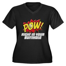 Pow! Women's Plus Size V-Neck Dark T-Shirt