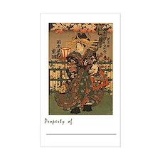 "Beautiful Geisha Book Plate (Lg 3""x5"" Sticker)"