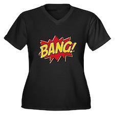 Bang! Women's Plus Size V-Neck Dark T-Shirt