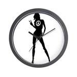 Peace Woman Girl Gear Wall Clock