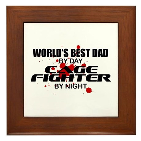 World's Best Dad - Cage Fighter Framed Tile