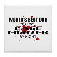World's Best Dad - Cage Fighter Tile Coaster