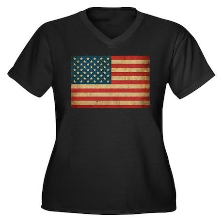 Vintage America Flag Women's Plus Size V-Neck Dark