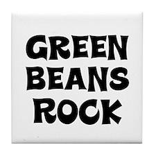 Green Beans Rock Tile Coaster