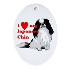 Japanese Chin valentine Oval Ornament