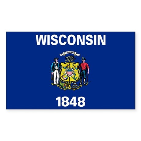 Wisconsin State Flag Sticker (Rectangle)