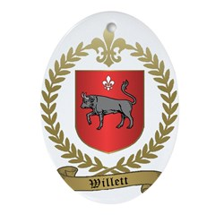 WILLETT Family Crest Ornament (Oval)
