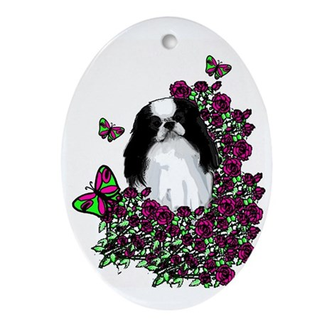 floral Japanese Chin Oval Ornament