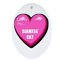 I Love My Siamese Cat Oval Ornament