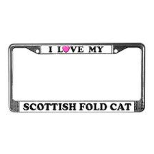 I Love My Scottish Fold Cat License Plate Frame