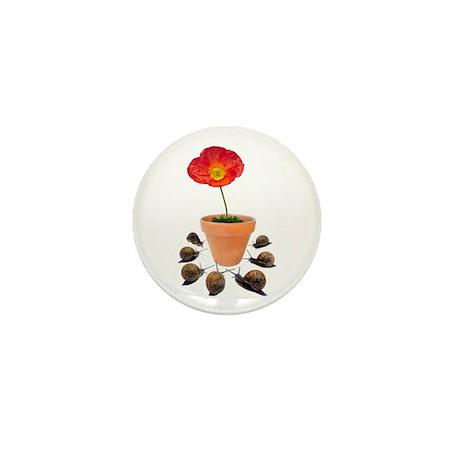 Snails Surround Flower Mini Button