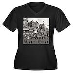Mardi Gras Women's Plus Size V-Neck Dark T-Shirt