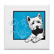 Scottie Dog & Swirls Tile Coaster