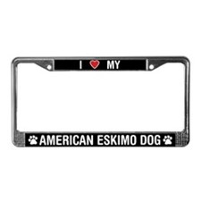 I Love My American Eskimo Dog License Plate Frame