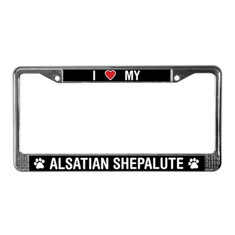 I Love My Alsatian Shepalute License Plate Frame