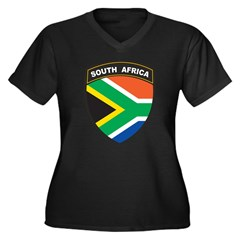 South Africa Emblem Women's Plus Size V-Neck Dark