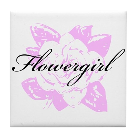 Fancy Formal Flower Girl Tile Coaster