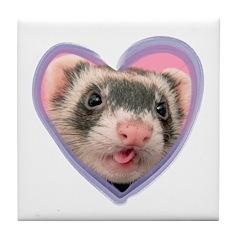 Heart Ferret Tile Coaster