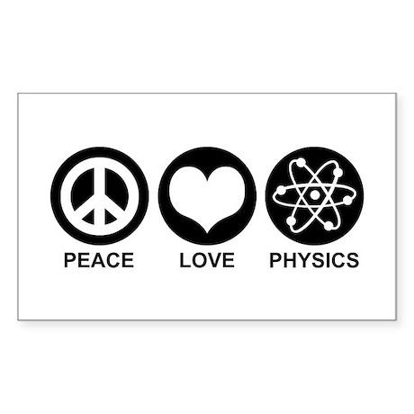 Peace Love Physics Sticker (Rectangle)