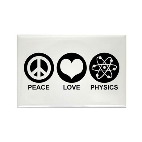 Peace Love Physics Rectangle Magnet