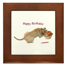 Birthday Dog Framed Tile