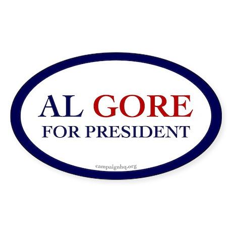 Al Gore for President. Oval Sticker