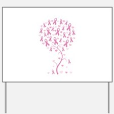 Pink Ribbon Breast Cancer Tre Yard Sign