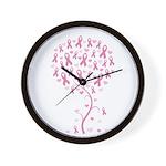 Pink Ribbon Breast Cancer Tre Wall Clock