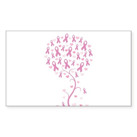 Pink Ribbon Breast Cancer Tre Sticker (Rectangle)