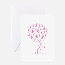 Pink Ribbon Breast Cancer Tre Greeting Card