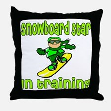 Snowboard Star in Training Joshua Throw Pillow