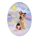 German shepherd angel Oval Ornaments