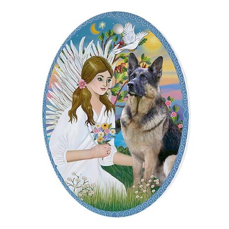 Angel Loving a German Shepherd Ornament (Oval)