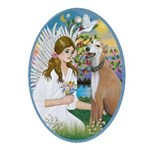 Angel Loving a Greyhound (lt. red) Ornament (Oval)