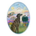Cloud Angel #2 - Brncle Greyhound Ornament (Oval)