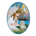 Angel Loving a Maltese Ornament (Oval)