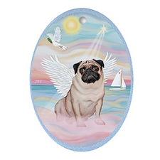 Heavenly Sea - Pug Ornament (Oval)