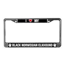 Black Norwegian Elkhound License Plate Frame