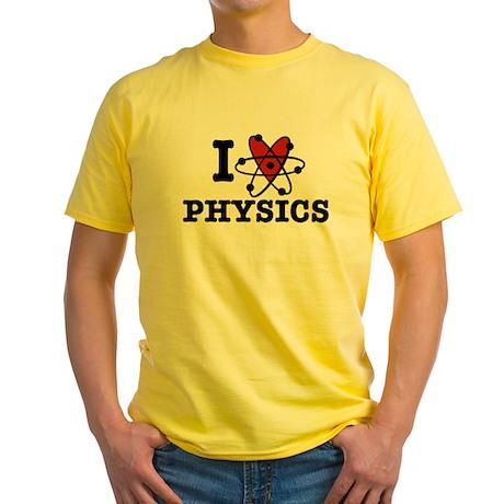 I Love Physics Yellow T-Shirt I Love Physics T | CafePress.com