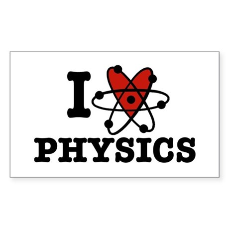 I Love Physics Sticker (Rectangle)