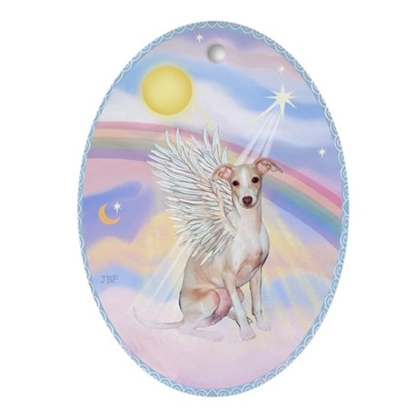 Whippet Angel in Heaven's Clouds Ornament (Oval)