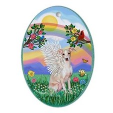 Rainbow Life - Whippet Angel Ornament (Oval)