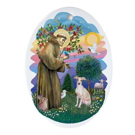 St. Francis and Whippet (cream) Ornament (Oval)