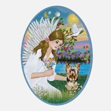Angel Loving a Yorkie (#17) Ornament (Oval)